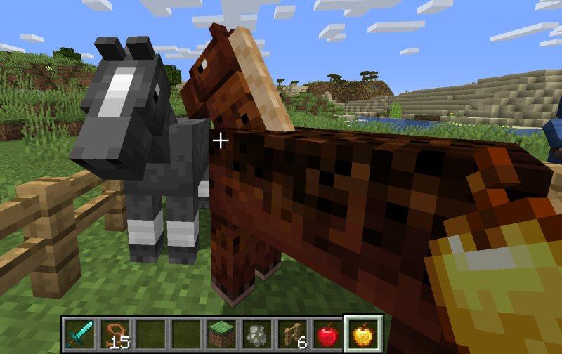 feeding a horse a golden apple for breeding horses in minecraft