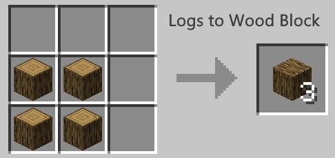 minecraft logs to wood block crafting