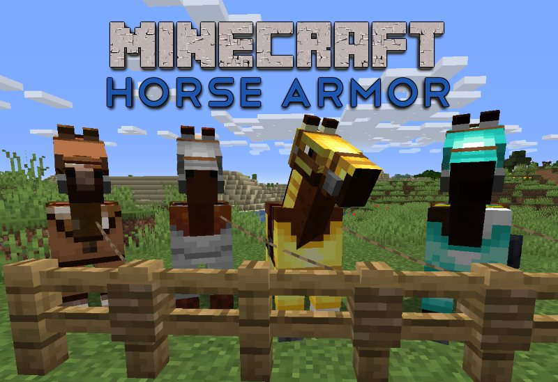 four horses wearing horse armor, leather horse armor, iron horse armor, gold horse armor, diamond horse armor