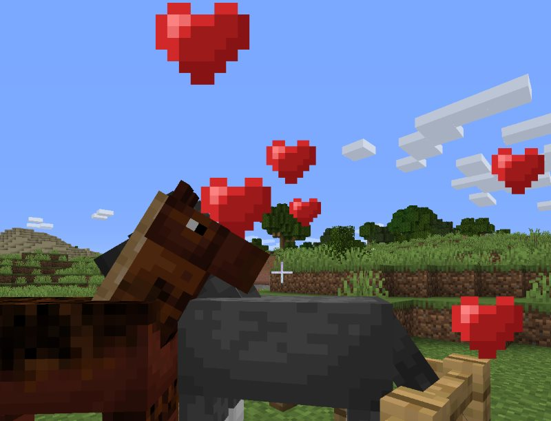 red hearts over horses in love mating in minecraft and breeding a baby horse