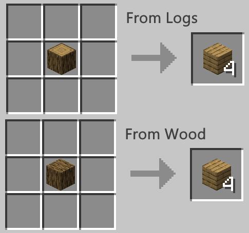 minecraft plank recipe