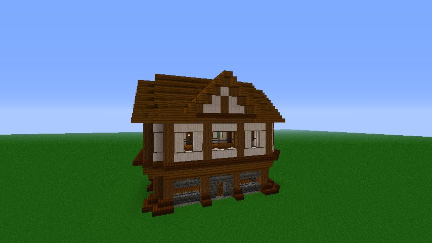 simple medieval house with steps to make
