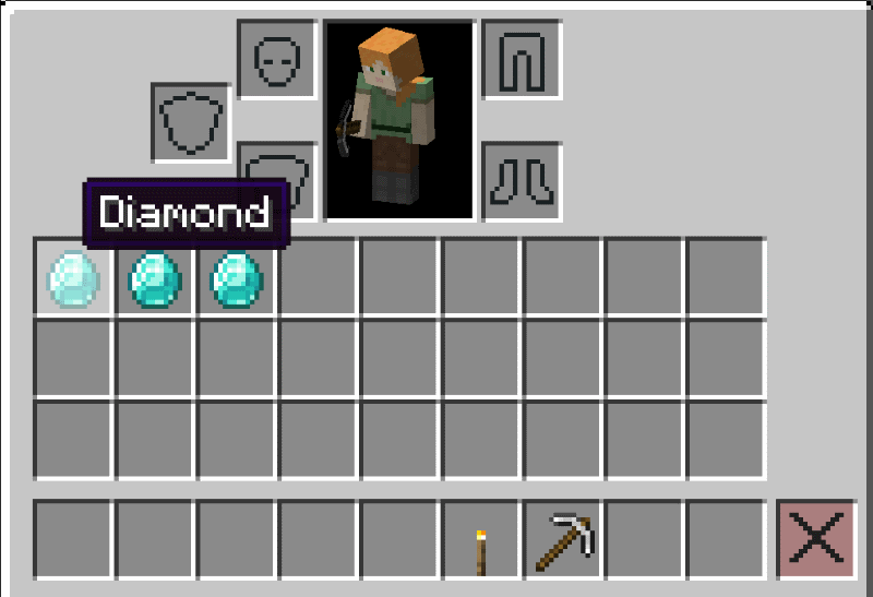 mined diamonds in player inventory