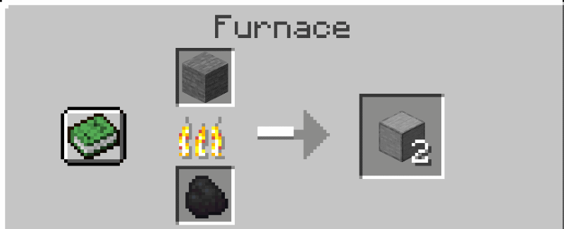 a furnace making smooth stone for an armor stand