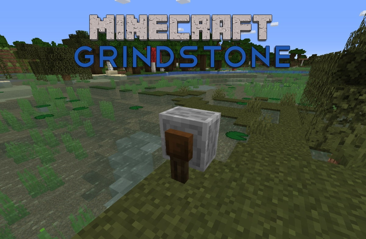 screenshot of Minecraft grindstone block
